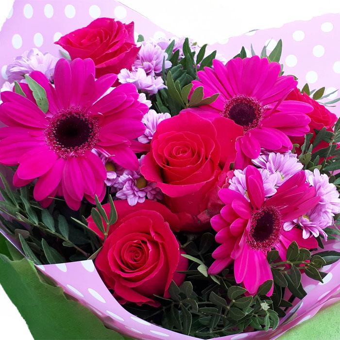 фото 1: Малиновый букет с розами и другими цветами